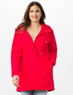 Hooded Zip Front Utility Jacket with Slant, Waist Drawcord, Chest Zip Pockets - R.red - Front