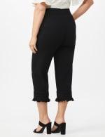Pull On Crop Pants with Fringe Hem Detail - Black - Back