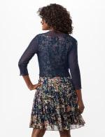 Sleeveless Ditsy Flounce Dress - Navy - Back