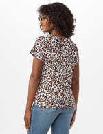 Animal Knot Front Knit Top - White/Brown - Back
