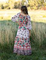 Border Print Tiered Maxi Peasant Dress - Nude/Orange - Back