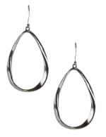 Casted Teardrop Earring on Fish Hook - Silver Plating - Front