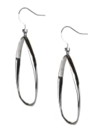 Casted Teardrop Earring on Fish Hook - Silver Plating - Detail