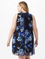 Sleeveless Chiffon Puff Print Flower Mock Neck Dress - Navy - Back