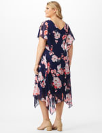 Floral Chiffon Drape Neck Hanky Hem Dress - Plus - Navy/Coral - Back