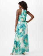 Flower Pleated Skirt Patio Dress - Aqua Multi - Back