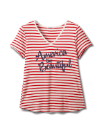"""America The Beautiful"" Stripe Rib Tee - Misses - Red - Front"