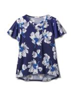 Criss Cross Neck Floral Knit Top - Misses - Navy - Front