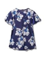 Criss Cross Neck Floral Knit Top - Misses - Navy - Back