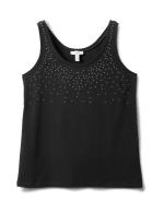 Studded Knit Tank - Plus - Black - Front