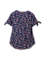 Floral Pintuck Tie Sleeve Popover - Misses - Navy - Back