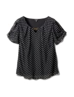 Roz & Ali  Dot Bubble Hem Woven Top with 3 Ring Neckline - Black/White - Front
