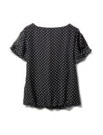 Roz & Ali  Dot Bubble Hem Woven Top with 3 Ring Neckline - Black/White - Back