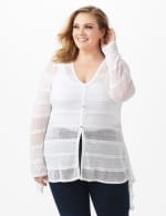 Button Front Sharkbite Cardigan - Plus - White - Front