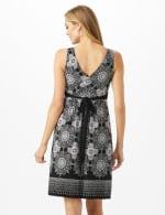 V-Neck Placed Boarder Mixed Print Dress - Black - Back