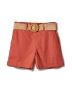High Rise A Line Shorts With Belt - Papaya - Front