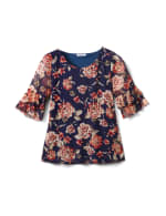Floral Mesh Ruffle Sleeve Knit Top - Misses - Navy - Front
