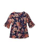 Floral Mesh Ruffle Sleeve Knit Top - Misses - Navy - Back