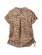 Animal Side Tie Popover Woven Top - Misses - Black-tan - Back