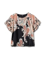 Roz & Ali Paisley Paisley Colder Shoulder Blouse - Misses - Black - Front