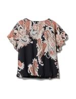 Roz & Ali Paisley Paisley Colder Shoulder Blouse - Plus - Black - Back