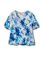 Tie Dye Twist Sleeve Thermal Knit Top - Plus - Blue - Front