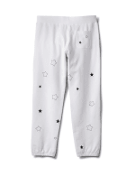 Embroidered Star Knit Pant - White - Back