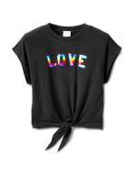 "Ombree ""Love ""Tie Front Knit Top - Black - Front"