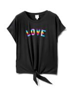 "Ombree ""Love ""Tie Front Knit Top - Plus - Black - Front"