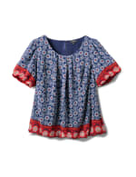 Border Print Bubble Hem Blouse - Plus - Navy - Front