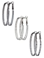 Trio Oval Clutchless 2 Row Textured Hoop - Rhodium/Hematite/Jet - Front