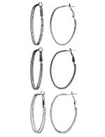 Trio Oval Clutchless 2 Row Textured Hoop - Rhodium/Hematite/Jet - Detail
