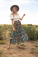 3 Tiered Maxi Skirt - Elastic Pullon Waistband - Moroccan Blue - Front