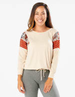 Tie Bottom Mixed Print Knit Top - Misses - Beige - Front