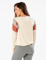 Tie Bottom Mixed Print Knit Top - Misses - Beige - Back