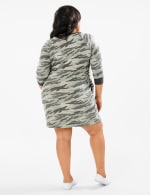 Camouflage Knit Dress - Plus - Charcoal - Back