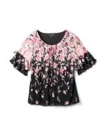 Placed Floral Bubble Hem Blouse - Black/Blush - Front