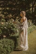 Self-Portrait Sheer Goddess Kimono - White - Back