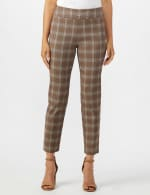 Roz & Ali Yarn Dye Plaid Pull On Waist Ankle Pant - Taupe - Front