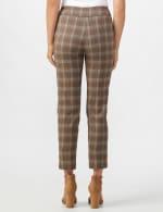 Roz & Ali Yarn Dye Plaid Pull On Waist Ankle Pant - Taupe - Back