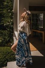 Maxi Skirt in Blue Tie Dye - Blue - Detail