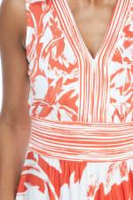 V-Neck Large Floral Maxi Sundress - Orange - Detail