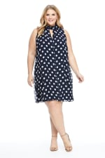 Mock Neck Dot Dress - Navy/White - Front