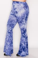 Bold Tie Dye Wide Leg Pants - Denim Blue - Front