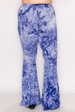 Bold Tie Dye Wide Leg Pants - Denim Blue - Back