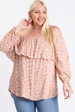 Comfy Off-Shoulder Blouse - Blush - Front