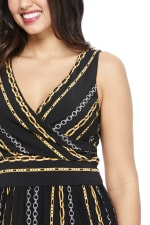 Whitney Chain Stripe Jumpsuit - Black/Gold - Detail