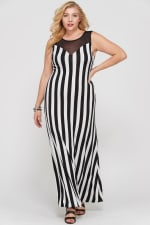 Striped Maxi Dress With A Mesh Neckline - Black / Ivory - Front