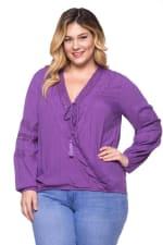 Purple-Loving Crochet x Lace Top - Purple - Front