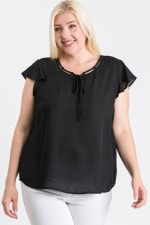Everyday Look Short Sleeve Top - Black - Front